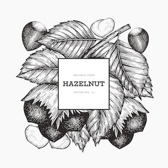 Ręcznie rysowane szkic szablon orzecha laskowego. żywności organicznej ilustracja na białym tle. vintage ilustracji orzechów. grawerowane tło botaniczne stylu.