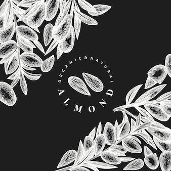 Ręcznie rysowane szkic szablon projektu migdałów. ilustracja wektorowa żywności ekologicznej na tablicy kredowej. ilustracja rocznika nakrętki. tło botaniczne w stylu grawerowanym.
