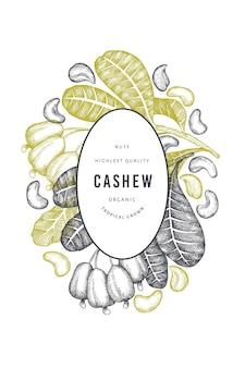 Ręcznie rysowane szkic szablonu nerkowca. ilustracja żywności ekologicznej na białym tle. ilustracja rocznika nakrętki. tło botaniczne w stylu grawerowanym.
