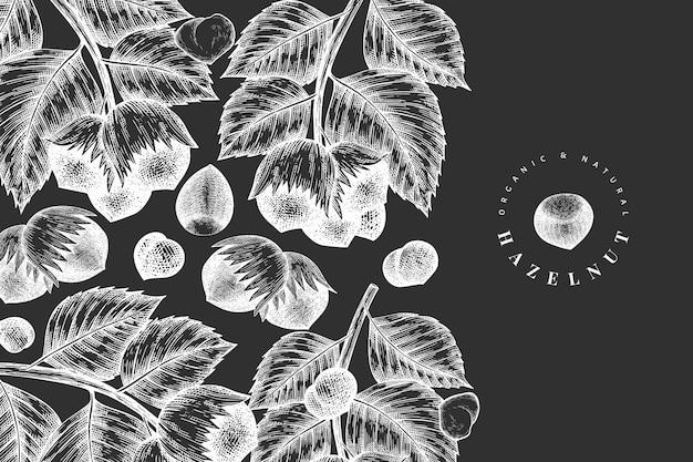 Ręcznie rysowane szkic szablonu orzecha laskowego. ilustracja żywności ekologicznej na tablicy kredowej. ilustracja rocznika nakrętki. tło botaniczne w stylu grawerowanym.