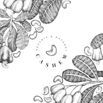 Ręcznie rysowane szkic szablonu projektu nerkowca. ilustracja wektorowa żywności ekologicznej na białym tle. ilustracja rocznika nakrętki. tło botaniczne w stylu grawerowanym.