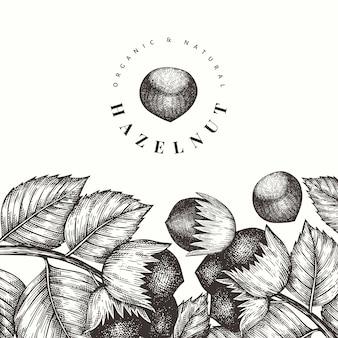 Ręcznie rysowane szkic szablonu projektu orzecha laskowego. ilustracja wektorowa żywności ekologicznej na białym tle. ilustracja rocznika nakrętki. tło botaniczne w stylu grawerowanym.
