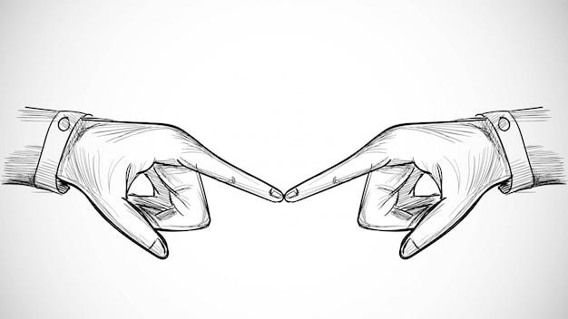 Ręcznie rysowane szkic sztuki z koncepcją dłoni dotknąć kobiety