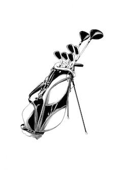 Ręcznie rysowane szkic torby golfowej na czarno na białym tle.