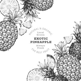Ręcznie rysowane szkic transparent ananas w stylu