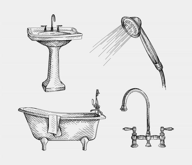 Ręcznie rysowane szkic urządzeń łazienkowych. wyposażenie łazienki. bateria łazienkowa, umywalki stojące, głowica prysznicowa, staromodna wanna