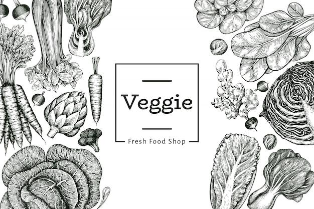 Ręcznie rysowane szkic warzyw. szablon świeżej żywności ekologicznej. retro tło warzywo. .