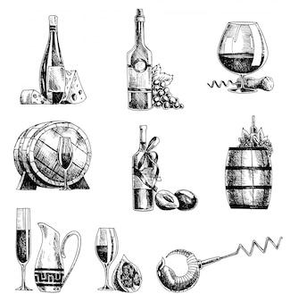 Ręcznie rysowane szkic wektor zestaw wina. butelka wina, szkło, beczka, winogrona korkociąg sommelier