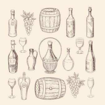 Ręcznie rysowane szkic winnicy i zbiory elementów wektorów wina. doodle winnic i winogron ręcznie rysowane, ilustracja wina alkoholu