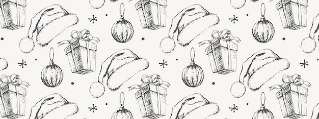 Ręcznie rysowane szkic wzór świąteczny prezent na nowy rok