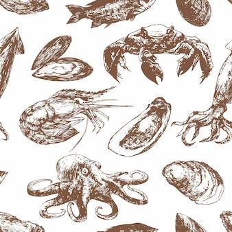 Ręcznie rysowane szkic wzór z owocami morza. małże, krewetki, kalmary, ośmiornice, kraby, ryby.