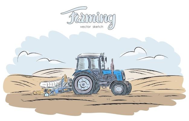 Ręcznie rysowane szkic z traktorem na polu.