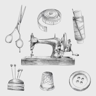 Ręcznie rysowane szkic zestaw atrybutów szycia. zestaw zawiera opaskę centymetrową, nożyczki, nić z igłą, zabytkową maszynę do szycia, guzik, poduszkę z igłami, gilzy