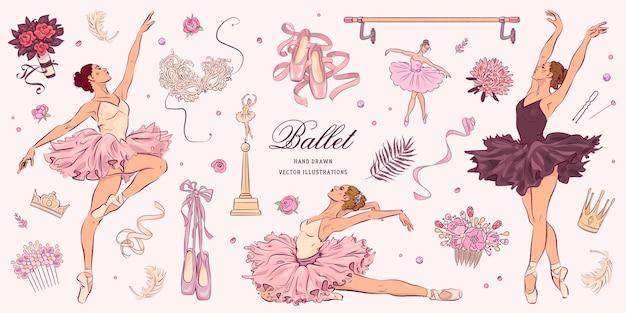 Ręcznie rysowane szkic zestaw baletowy