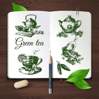 Ręcznie rysowane szkic zestaw herbaty. tożsamość wektor zestaw na podłoże drewniane
