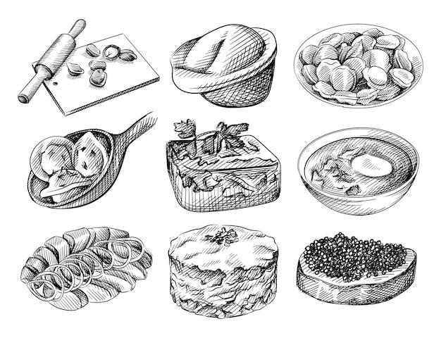 Ręcznie rysowane szkic zestaw kuchni rosyjskiej. deska z knedlami i wałkiem do ciasta, knedle na talerzu, knedle na łyżce, galaretka, galaretka, barszcz ze śmietaną, wędzony śledź i ziemniaki, surówka