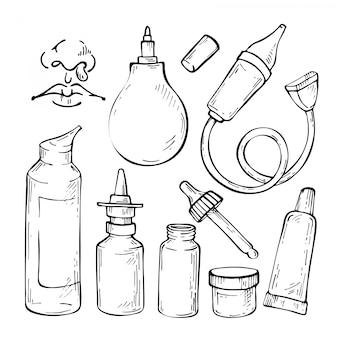Ręcznie rysowane szkic zestaw leków na przeziębienie, aspirator, krople do nosa i spray do nosa.