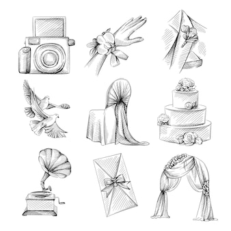 Ręcznie rysowane szkic zestaw motywu ślubnego. boutonniere na garniturze, łuk kurtyny, zabytkowy gramofon, ciasto trójpoziomowe, dekorowane krzesło, butonierka pod ręką, zaproszenie na ślub, dwa gołębie, aparat polaroid