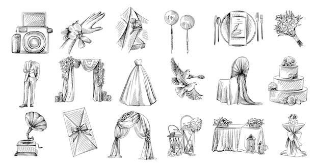 Ręcznie rysowane szkic zestaw motywu ślubnego. muszka ze wstążki, buty panny młodej, pudełko w kształcie serca