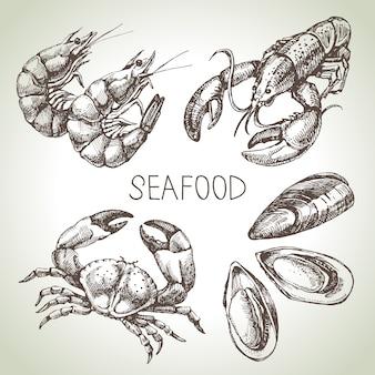 Ręcznie rysowane szkic zestaw owoców morza. ilustracja