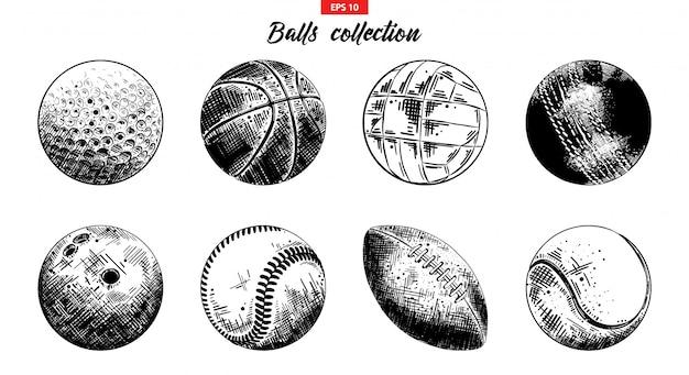Ręcznie rysowane szkic zestaw piłek sportowych