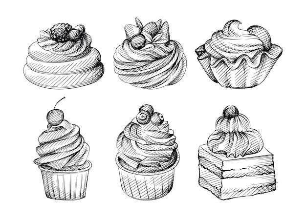 Ręcznie rysowane szkic zestaw różnych babeczek z jagodami, owocami i orzechami na białym tle. babeczki, deser, słodycze. muffinka.
