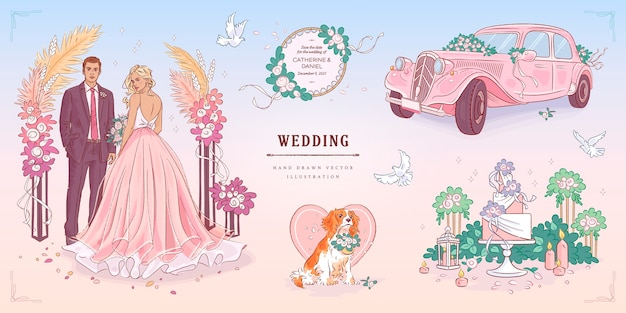Ręcznie rysowane szkic zestaw ślubny
