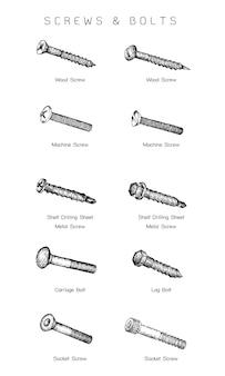 Ręcznie rysowane szkic zestaw typów śrub
