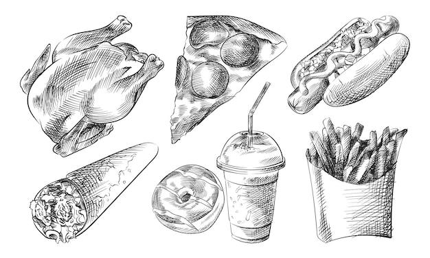 Ręcznie rysowane szkic zestawu fast foodów i przekąsek (zestaw fast food). zestaw zawiera grillowanego kurczaka, plasterek pizzy, hot doga z musztardą, lody, pączek, plastikową butelkę ze słomką, frytki