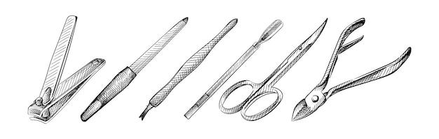 Ręcznie rysowane szkic zestawu narzędzi do manicure i pedicure.