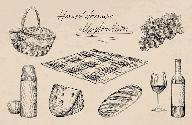 Ręcznie rysowane szkic zestawu piknikowego. zestaw zawiera kosz, ser, chleb bochenek, butelkę i kieliszek wina, termos i kubek, koc w kratkę, winogrona
