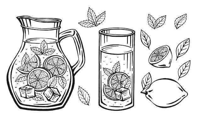 Ręcznie rysowane szklany dzbanek z lemoniadą, szkic domowej lemoniady, ilustracja lato.