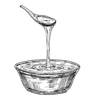 Ręcznie rysowane szklany talerz pełen miodu na białym tle. szkic farmy pszczelarskiej i pszczelarskiej. naszkicować.