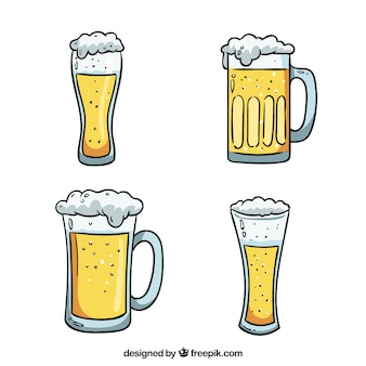 Ręcznie Rysowane Szkło Piwo I Kubek Darmowych Wektorów