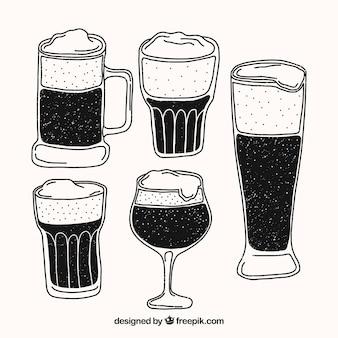 Ręcznie rysowane szkło piwo i kubek