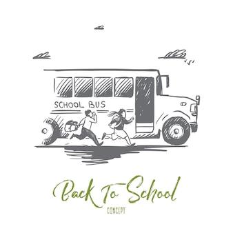 Ręcznie rysowane szkolny autobus ze szkicem koncepcyjnym uczniów.