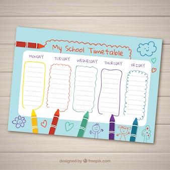 Ręcznie rysowane szkolny plan lekcji
