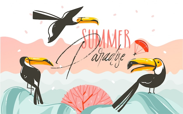 Ręcznie rysowane szopowe ilustracje czasu letniego ze sceną zachodu słońca na plaży i tropikalnymi tukanami z tekstem typografii summer parsdise na białym tle