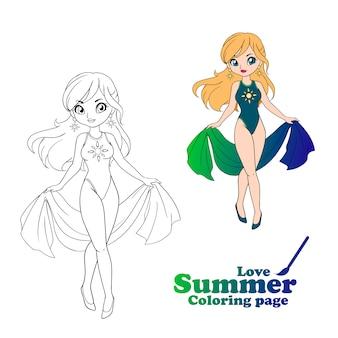 Ręcznie rysowane sztuki, stylu cartoon anime. dziewczyna sobie strój kąpielowy i pareo. ilustracji wektorowych.
