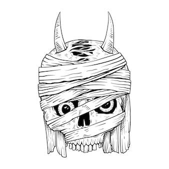Ręcznie rysowane t shirt projekt czaszki mumia na białym tle premium wektorów