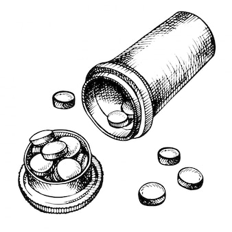 Ręcznie rysowane tabletki leku, tabletki, kapsułki i opakowania butelki na białym tle