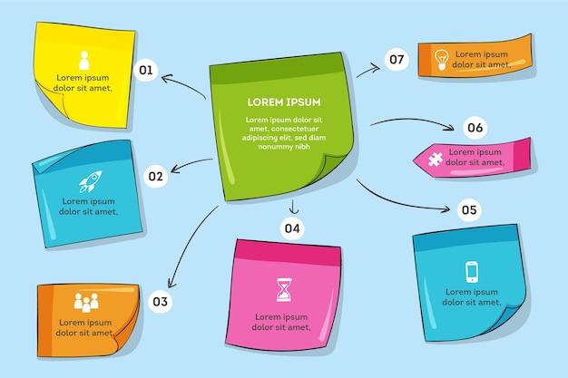 Ręcznie rysowane tablice post-it infografiki