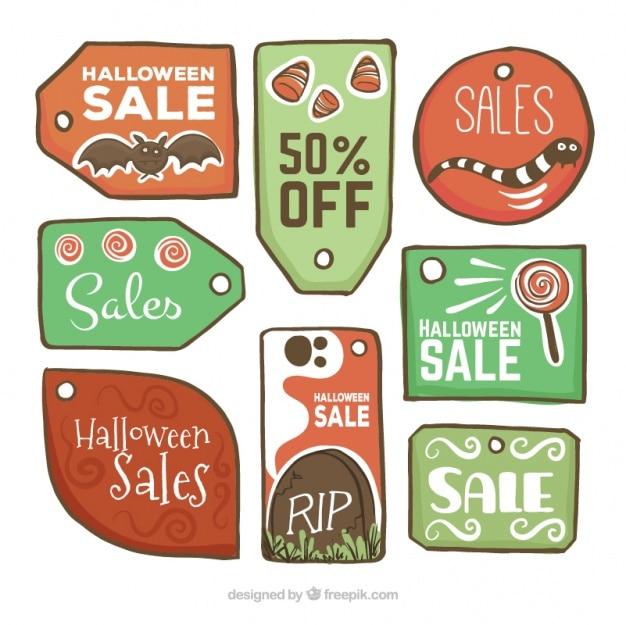 Ręcznie rysowane tagi sprzedaż na halloween