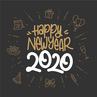 Ręcznie rysowane tapety nowy rok 2020