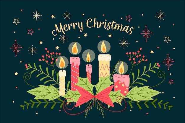 Ręcznie rysowane tapety świąteczne świeca