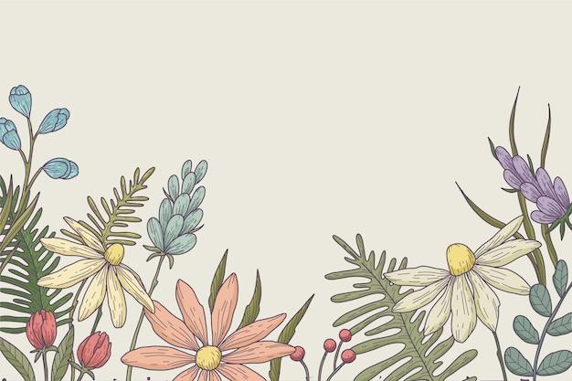 Ręcznie rysowane tapety w kwiaty