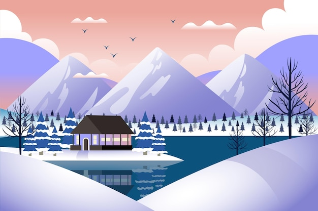 Ręcznie rysowane tapety zimowy krajobraz