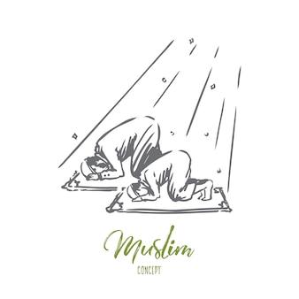 Ręcznie rysowane tata i syn modląc się szkic koncepcji.