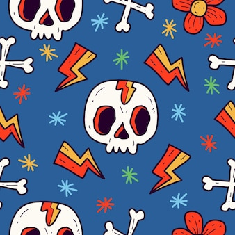 Ręcznie rysowane tatuaż czaszki kreskówka doodle wzór projektu pattern