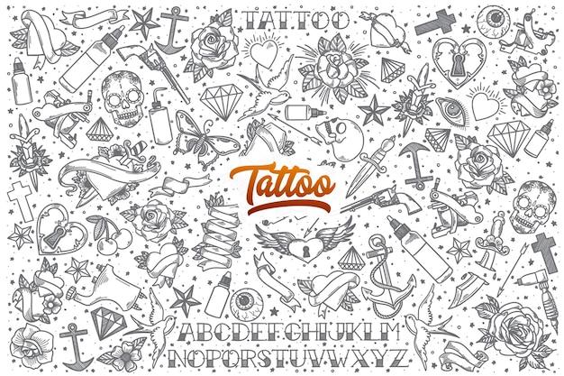 Ręcznie rysowane tatuaż doodle ustawić tło z pomarańczowym napisem